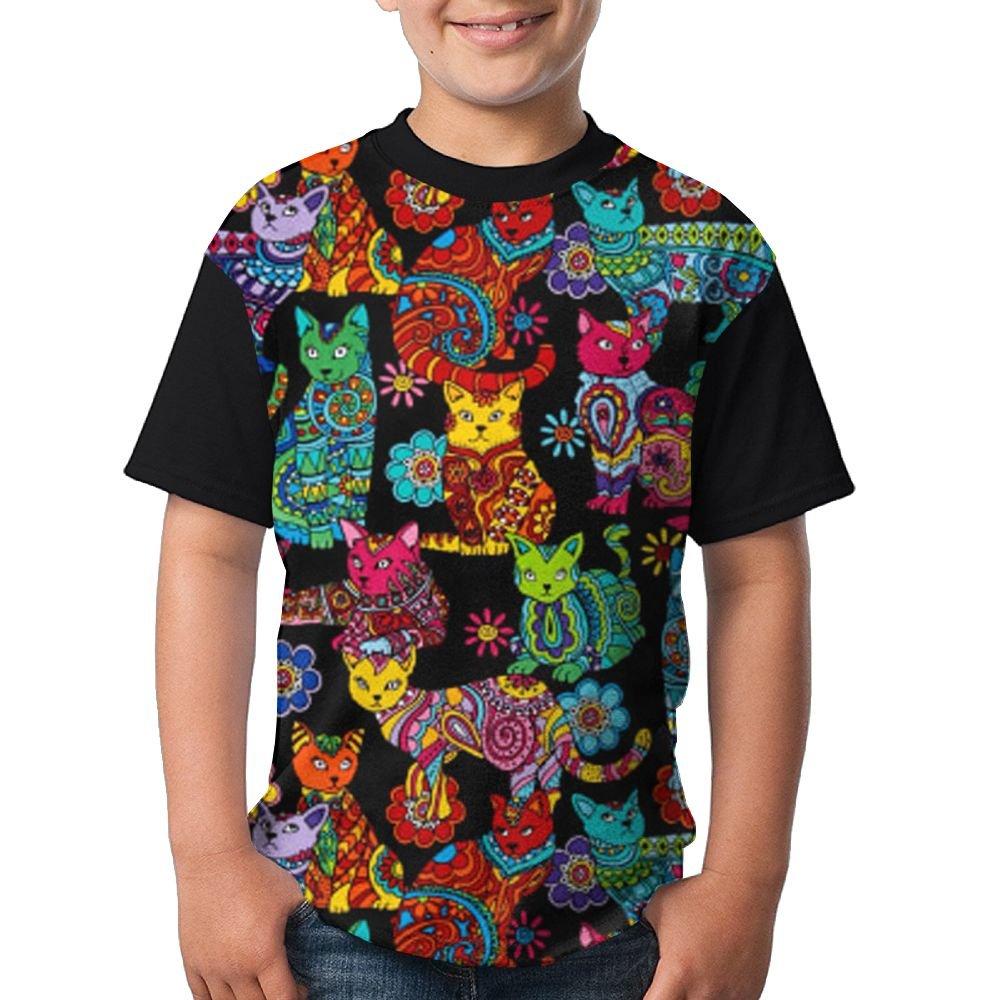 Art Cat Boys Girls Sports T Shirt 3D Printed Tee Black Top X-Large