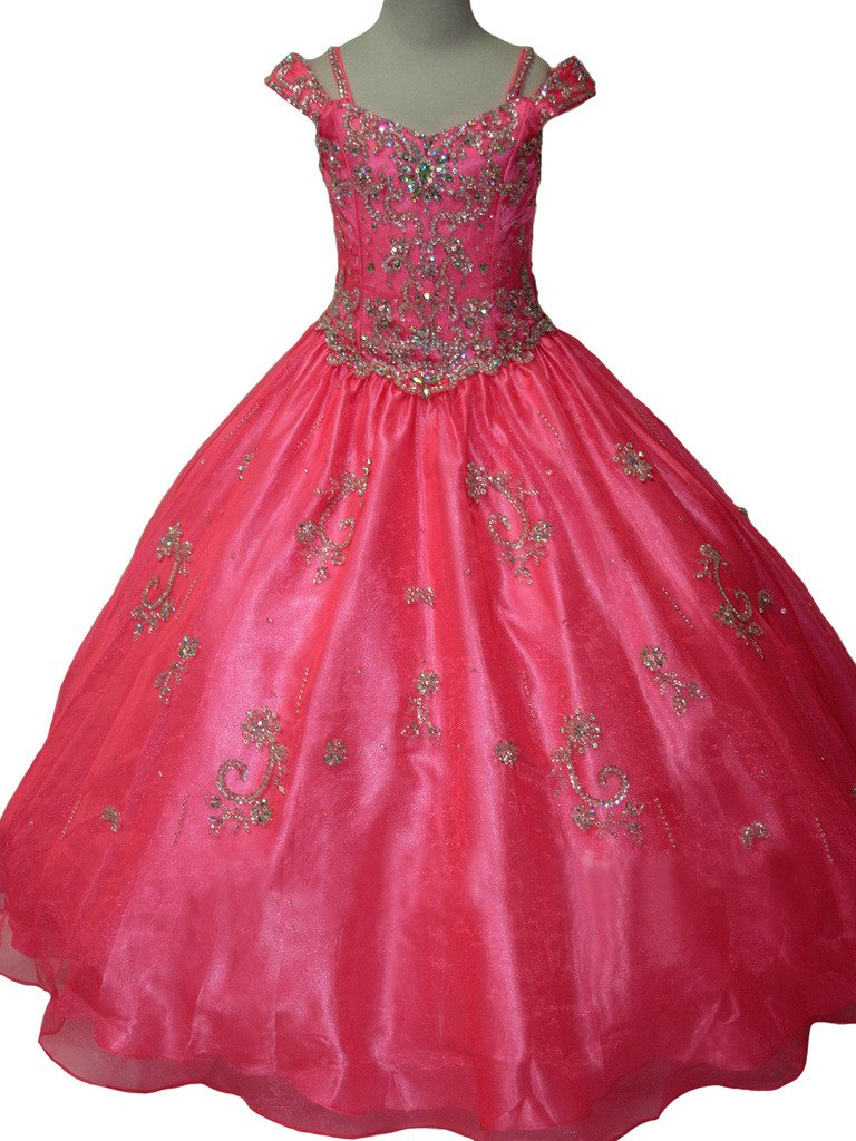 Yang Princess Girls Crystals Party Gowns Off Shoulder Royal Ball Pageant Dress 14 US Pink