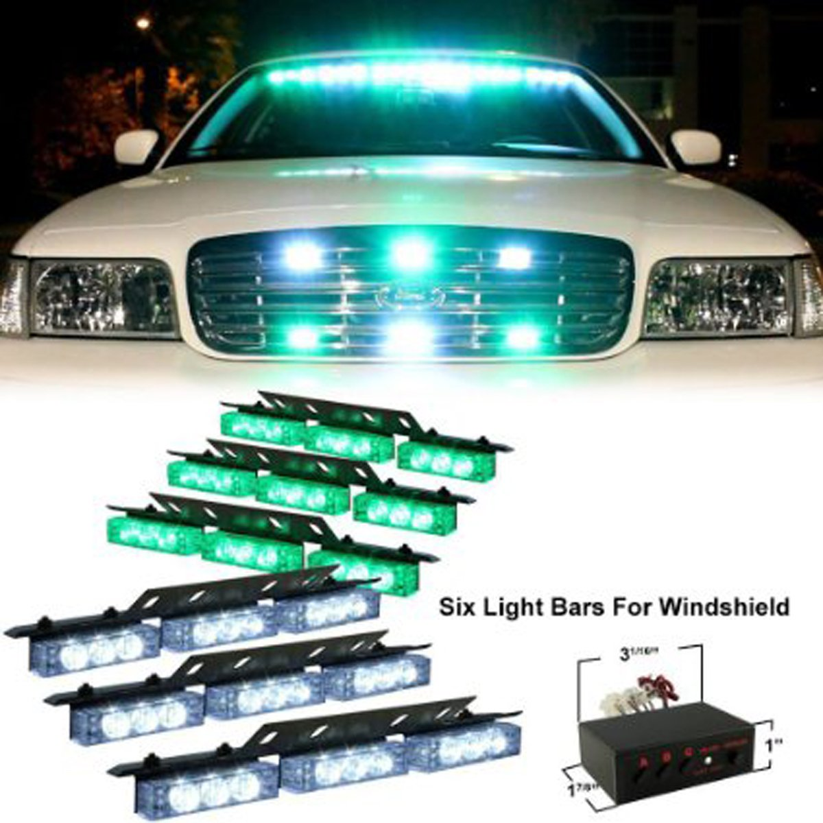 Vehicle Strobe Lights >> Pacask 54 Led Warning Use Flashing Strobe Lights Emergency Vehicle Strobe Lights Bar For Windshield Dash Grille White Green