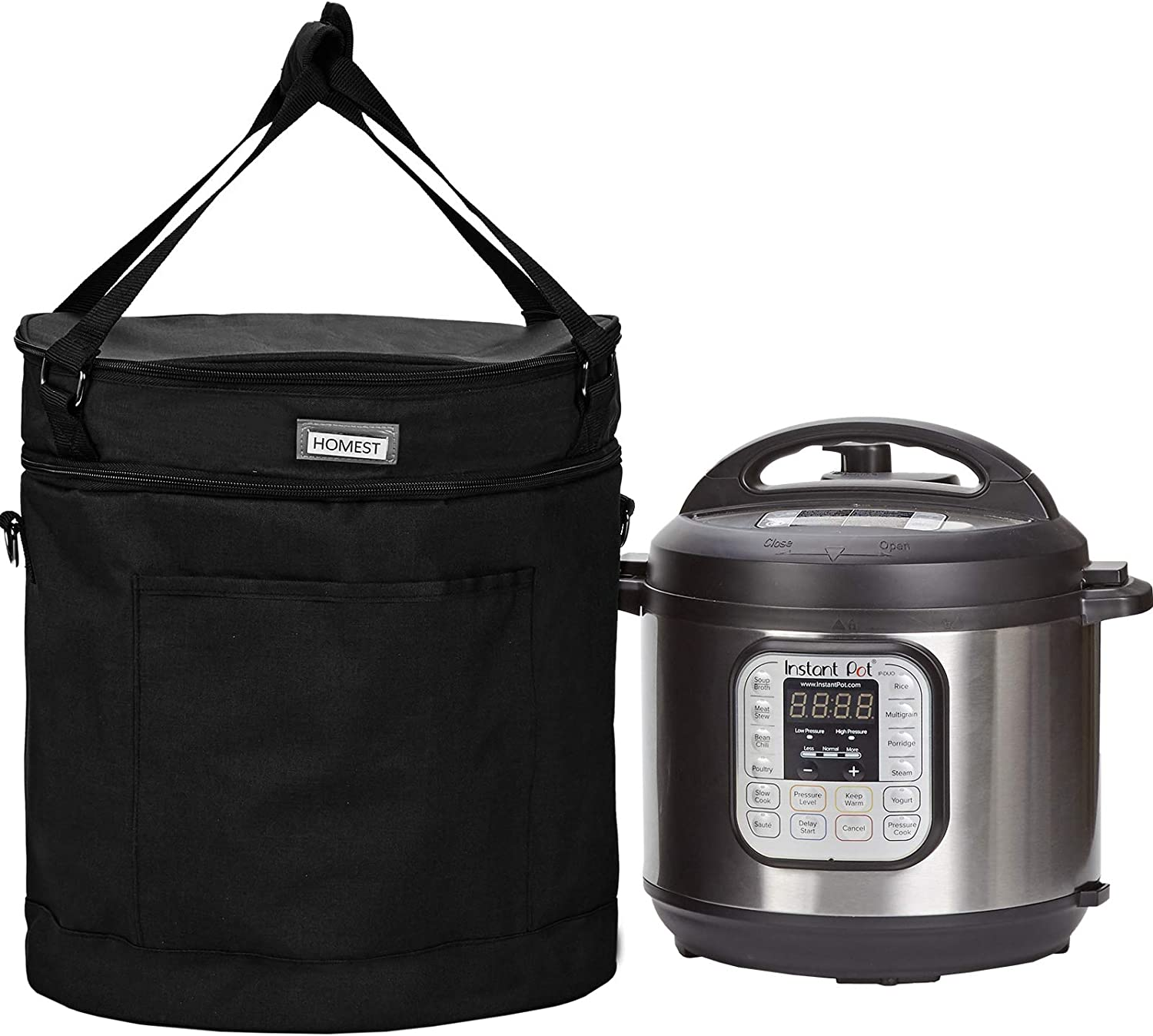 HOMEST 2 Compartments Carry Bag Compatible with 6 Quart Instant Pot, These Pressure Cooker Travel Tote Bag Have Accessory Pockets for Spoon, Measuring Cup, Steam Rack, Black