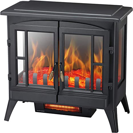 Kismile 3d Infrared Electric Fireplace Stove Freestanding Fireplace Heater With Realistic Flame Effects Portable Indoor Space Heater With Overheating Safety System Adjustable Brightness 23 6 Inch Kitchen Dining