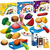 Cuttable Toy Food Sets - Breakfast Play Food, Lunch Play Food, and Dinner Play Food (3-Sets). Includes Realistic Looking Play Vegetables, Play Fruits, Hamburger, Fish, Meat, Cake, Ice Cream and more