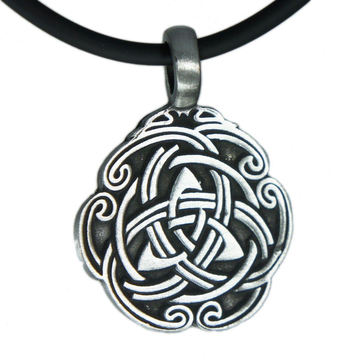 EXOTICDREAM Triquetra Knot Trinity Celtic Triskelion Triskele Pewter Pendant + Pvc Necklace Lobster Clap Lock XX