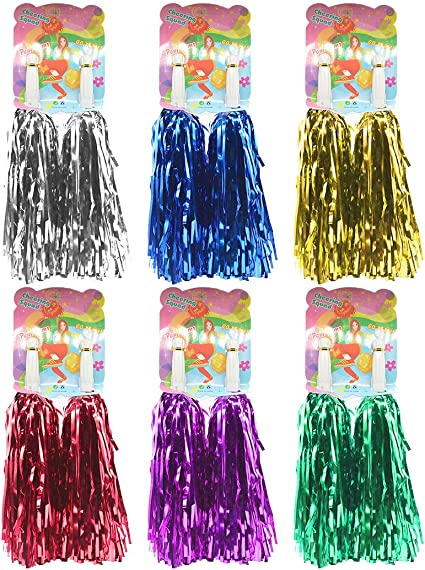 POM POMS PACK OF 2 POMPOM PINK BLUE PURPLE BATONS PARTY FANCY DRESS CHEERLEADER