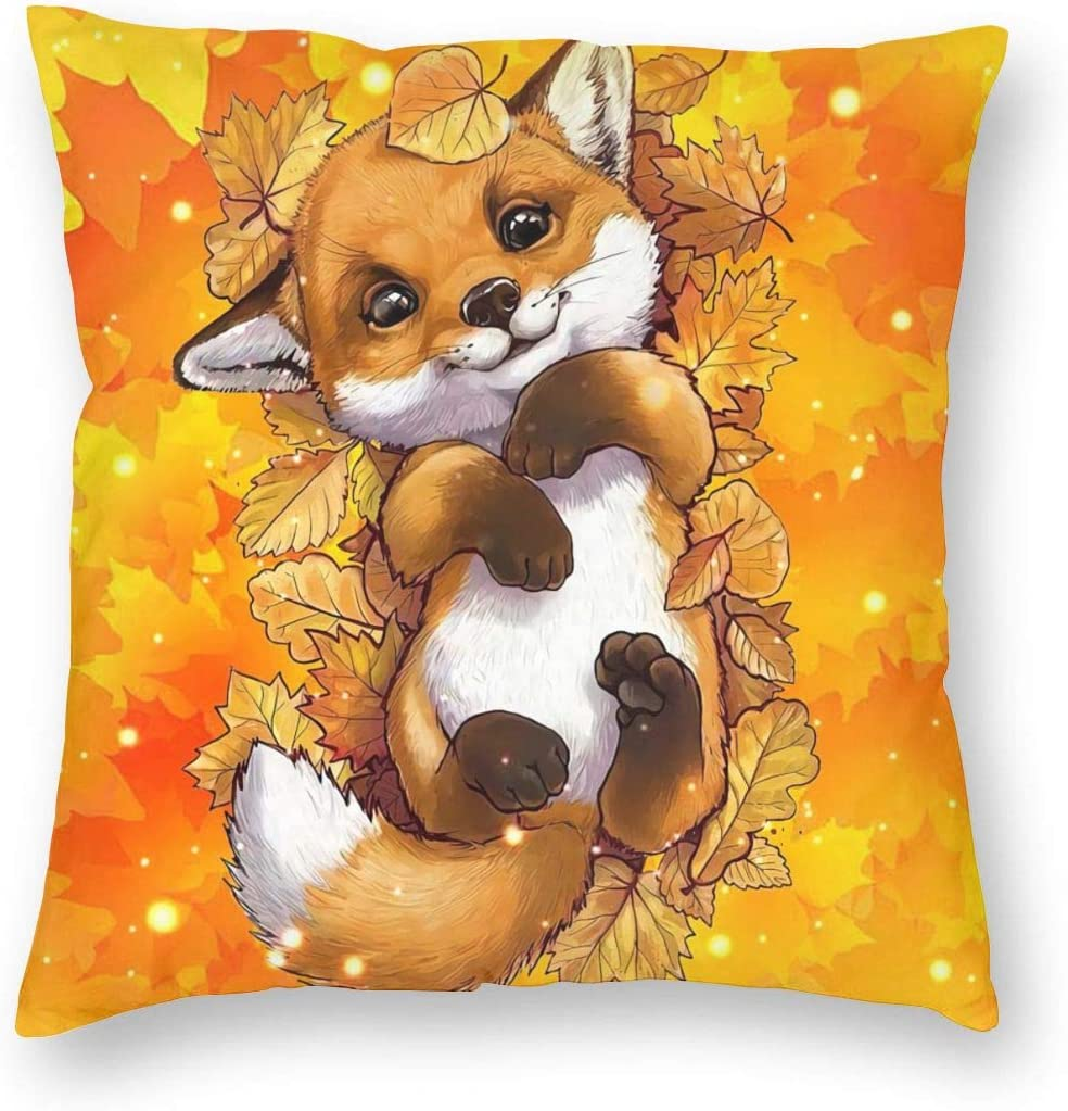 MINIOZE Autumn Cute Fox Leaves Orange Fall Thanking Print Plush Soft Square Pillow Covers Home Decor Cushion Covers Decorations Gifts Pillowcase for Indoor Sofa Bedroom Car 18 x 18 Inch