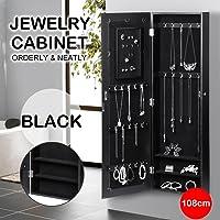Yaheetech Lockable Wall Door Mounted Armoire Mirrored Jewelry Cabinet (Black)