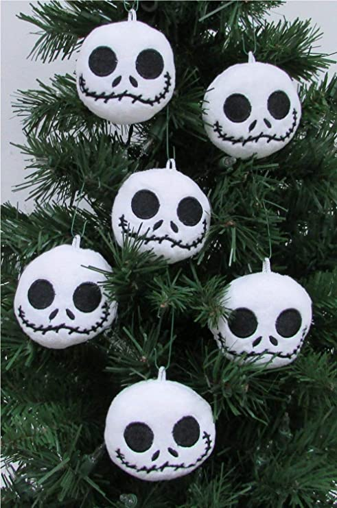 amazoncom nightmare before christmas plush ornament set featuring 6 jack skellington christmas tree plush ornaments average 25 round toys games