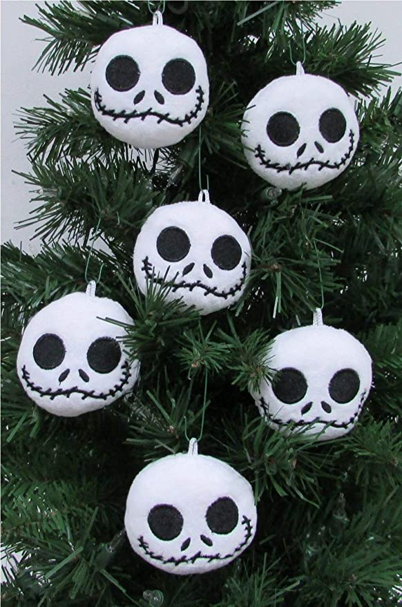 amazoncom nightmare before christmas plush ornament set featuring 6 jack skellington christmas tree plush ornaments average 25 round toys games - Jack Skellington Christmas Decorations