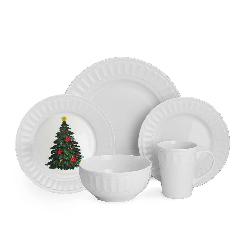 Amazon.com | American Atelier 20 Piece Radiant Christmas Dinnerware Set White Dinnerware Sets  sc 1 st  Amazon.com & Amazon.com | American Atelier 20 Piece Radiant Christmas Dinnerware ...