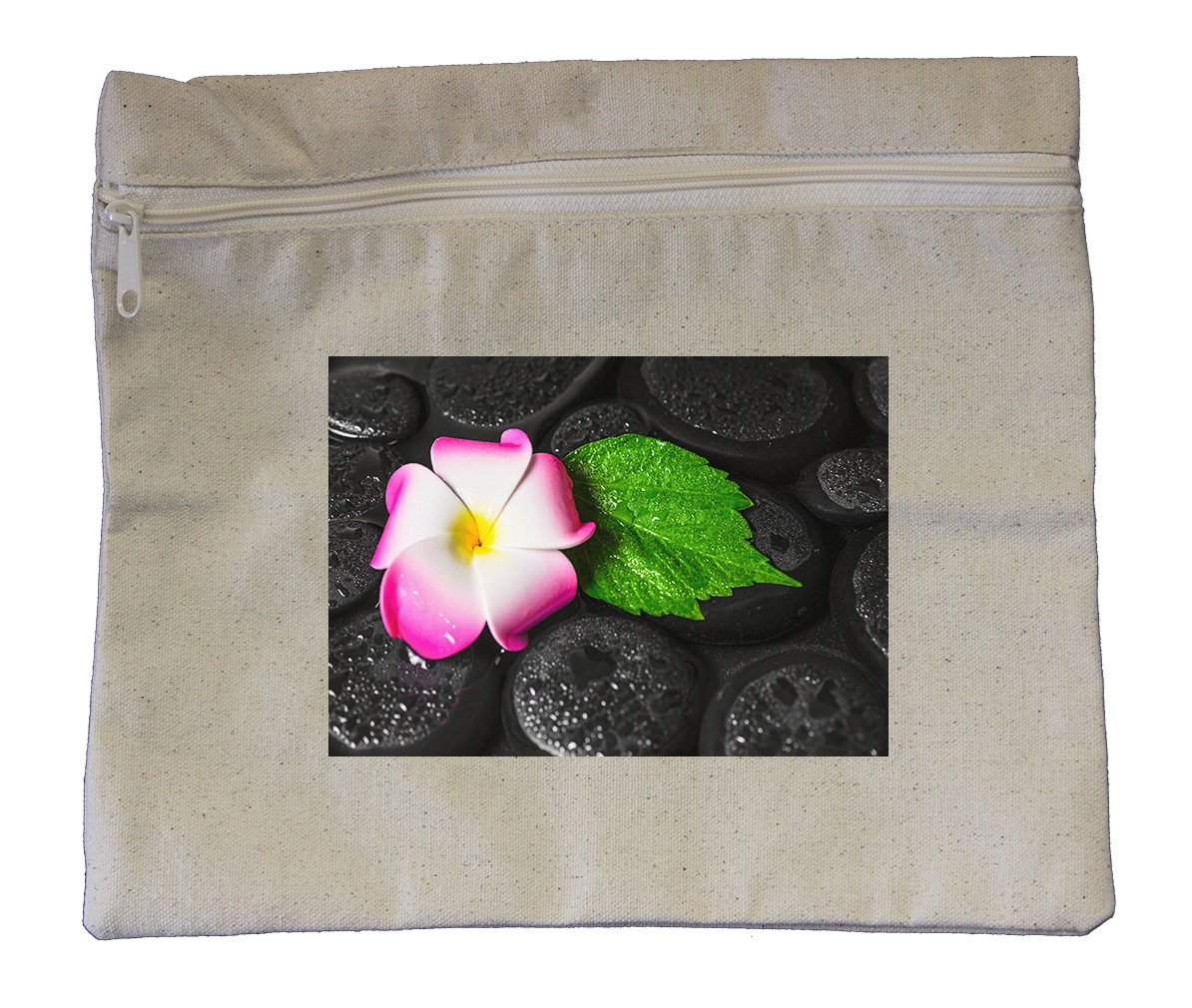 Canvas Zipper Pouch Tote Bag 10''X12'' Spa Concept Green Leaf Hibiscus Plumeria