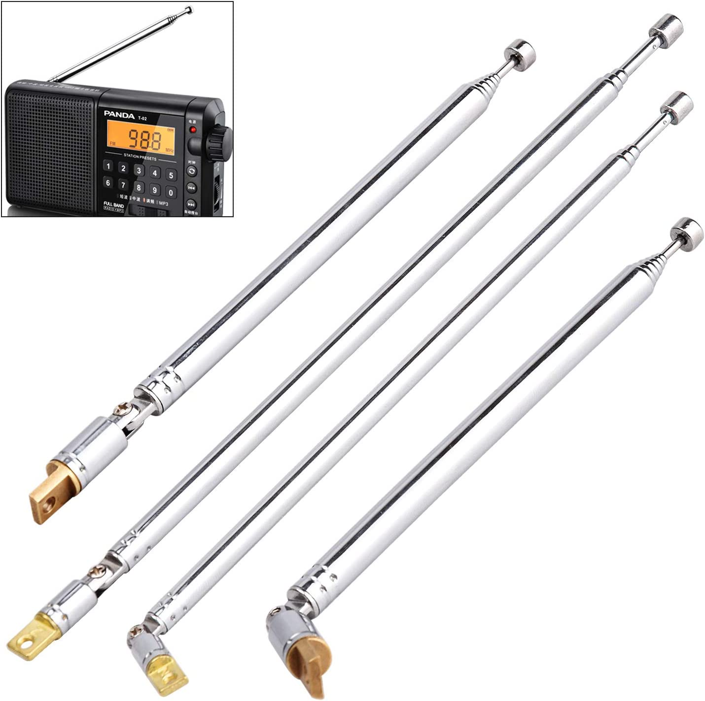 """2 Pair AM FM Radio Universal Antenna, 62.5cm 24.6"""" Length 4 Section & 77cm 30"""" Length 7 Section Telescopic Stainless Steel Replacement Antenna Aerial for Radio TV (2 Size)"""