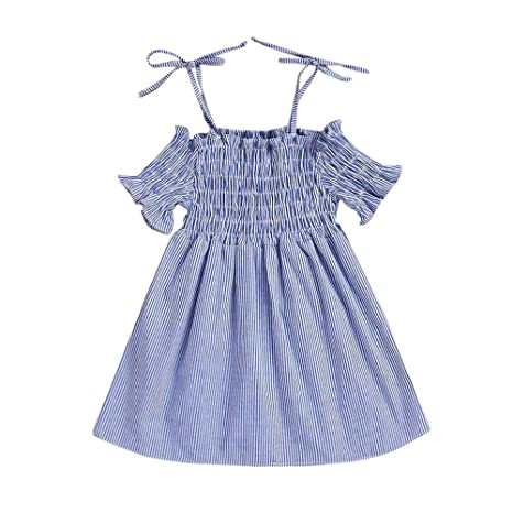 feiXIANG Vestido de niña a Rayas Ropa de bebé niña Ropa niños de Manga Corta Impresos