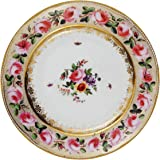 V & A – Victoria and Albert Museum Pink Roses Painted Tin Enamel Plate – picnic o campeggio