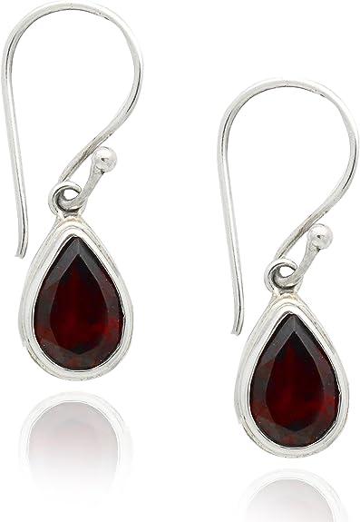 Garnet 925 Sterling Silver Double Dangle Earrings New