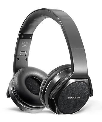 Over-Ear Auriculares Bluetooth, sodolife diadema 2 en 1 auriculares y altavoz inalámbrico plegable