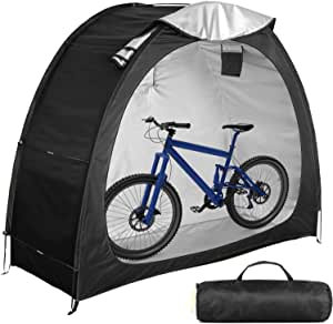 Bike Cover Storage Tent Heavy Duty Storage Tent Durable Polyester Waterproof Anti-Dust Portable Foldable Outdoor Tools Storage Shed( Black)