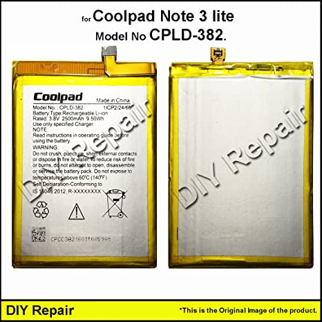 DIY Repair   Coolpad Note 3 lite Battery [Model No: CPLD-382] Rated: 3 8V  2500mAh 9 50Wh Replacement Parts