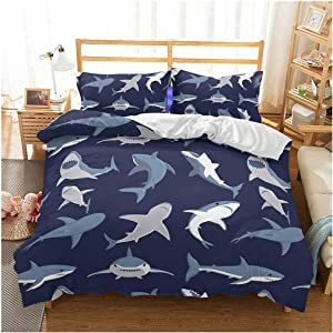 Shark Fish Print Kids Duvet Cover Set Full Bedding Cover Set Boys Girls Duvet Comforter Cover Set Luxury Soft Full Duvet Cover Set for Children Teens
