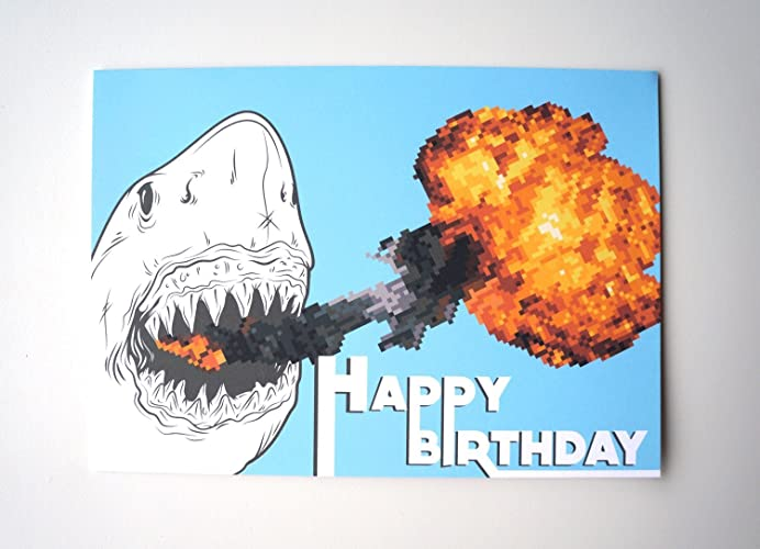Amazon Fire Breathing Shark Happy Birthday Card Handmade