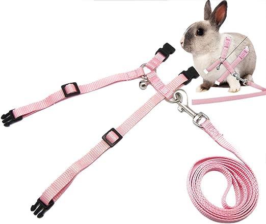 Arn/és de conejo con correa ajustable de nailon suave arn/és de conejo chaleco arn/és de plomo correa rosa azul correa de plomo para todas las estaciones para animales peque/ños azul