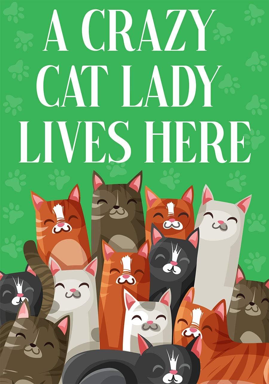 """Briarwood Lane Cat Lady Garden Flag 12.5"""" x 18"""" Kitten Cat Lover"""