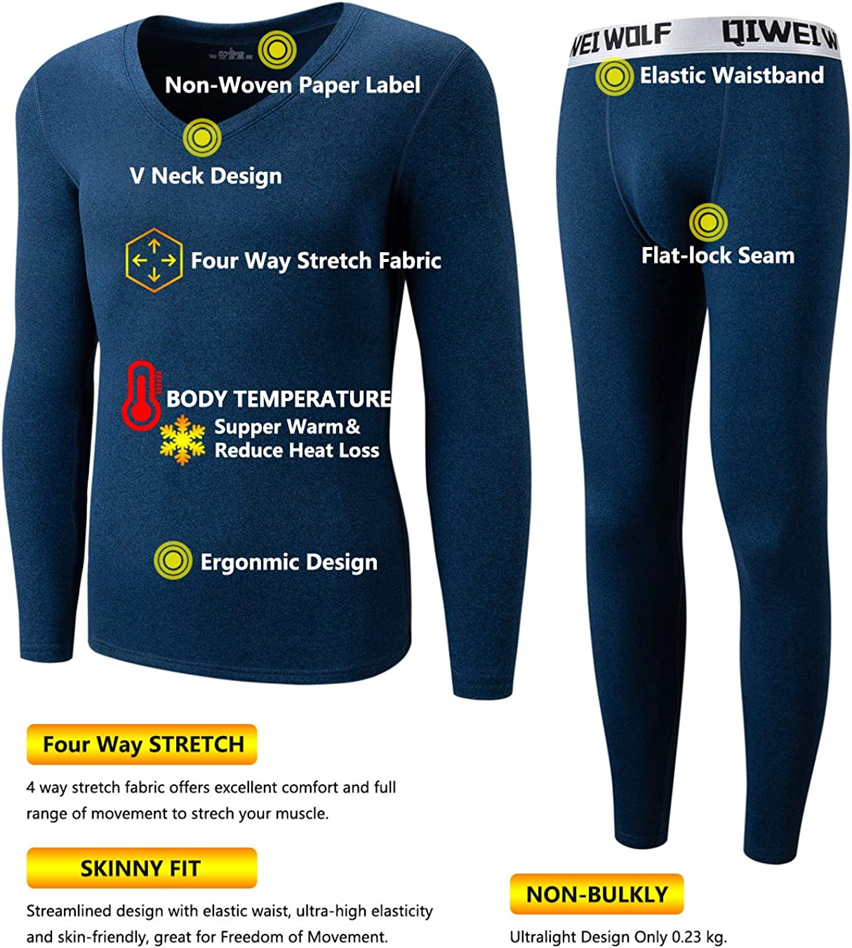 Mens Thermal Underwear Set Microfiber Fleece Long Johns Winter Base Layer Top and Bottom