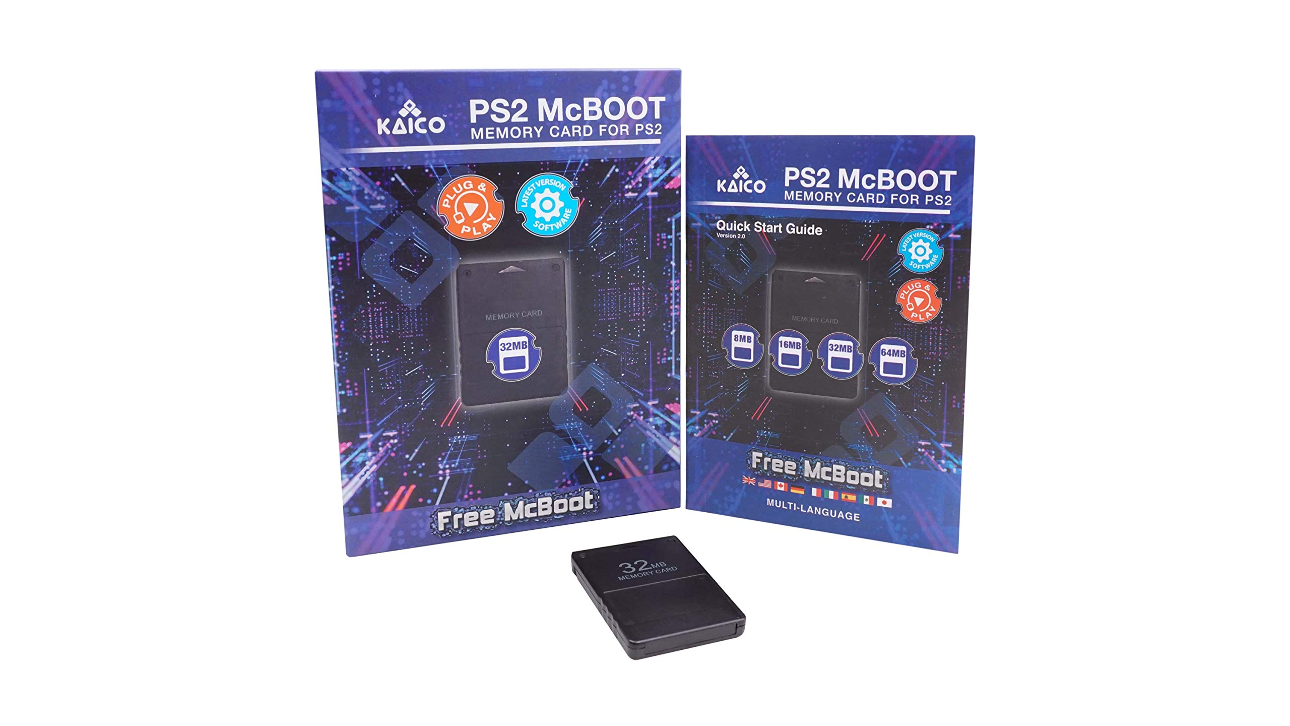 Kaico Free Mcboot 32MB PS2 Memory Card Running FMCB PS2 Mcboot 1.966 for Sony Playstation 2 - FMCB Free Mcboot Your PS2 - Plug and Play - Playstation 2 CFW McBoot 1.966