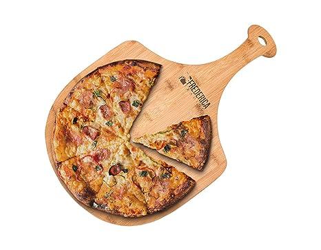 Amazon.com: Paleta de madera de bambú para pizza con mango ...