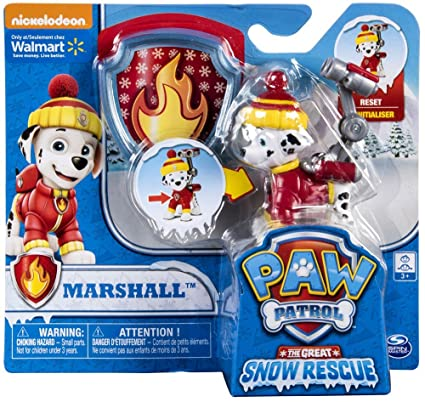 Amazon Com Paw Patrol Snow Rescue Marshall With Transforming Pup