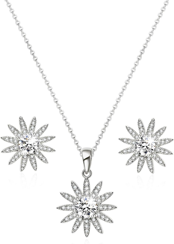 Conjunto de Joyas Brillantes Flor Diamante De Imitación Blanco Oro Plateado Collar Pendientes Grandes Moda Plata Mujer Mariage