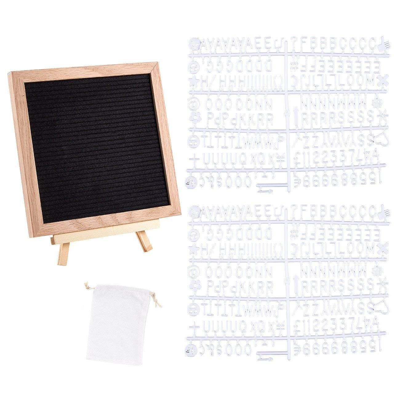 Felt Letter Board - Changeable Letter Board with Wooden Easel Stand, Drawstring Bag and 340 Plastic Letters, Numbers, and Emoji Symbols for Message Display, Office Signs, Decoration, 10 x 10 inches
