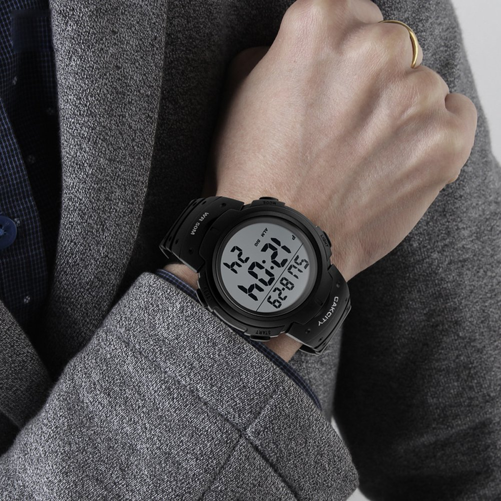 9bbbfc7d2 CakCity Men's Digital Sports Watch LED Screen Large Face Military Watches  and Waterproof Casual Luminous Stopwatch ...