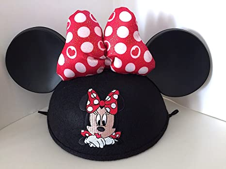8b6b6e50e01 Image Unavailable. Image not available for. Color  Disney Parks Minnie Mouse  Embroidered with Bow Ears Hat Adult ...