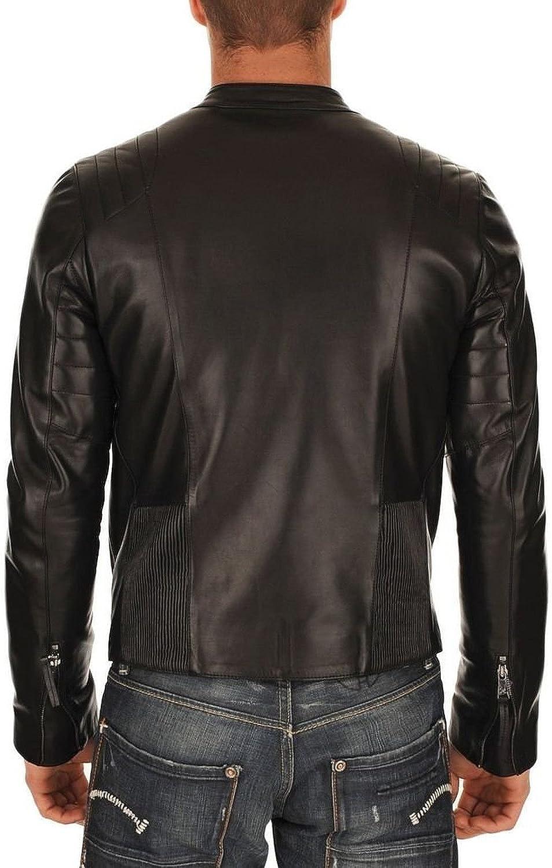 New Mens Leather Jacket Slim fit Biker Motorcycle Genuine Cow Leather Jacket/ NC679