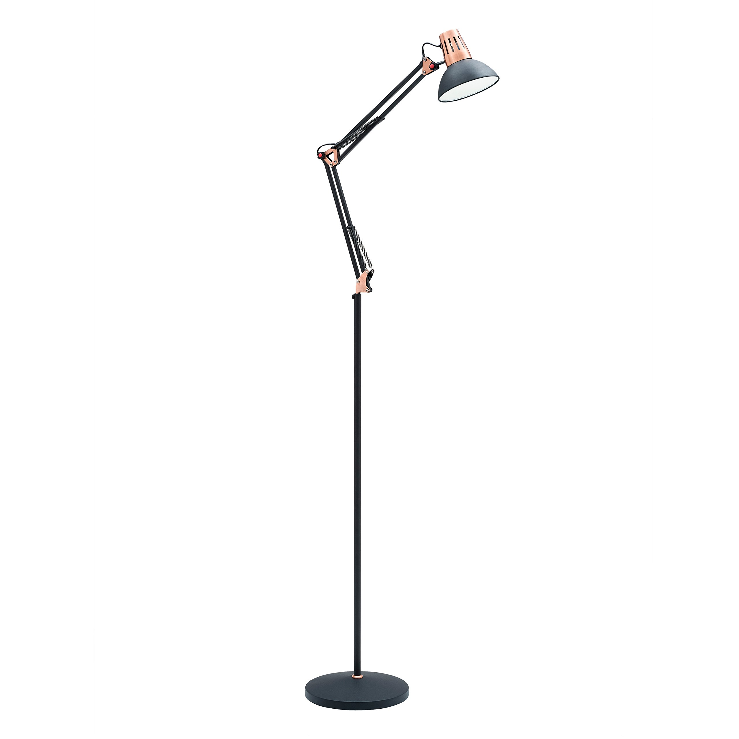 Light Society Yukon Floor Lamp, Sand Textured Black Shade and Body with Brushed Copper Finish, Modern Industrial Mid-Century Lighting Fixture (LS-F206-BLK)