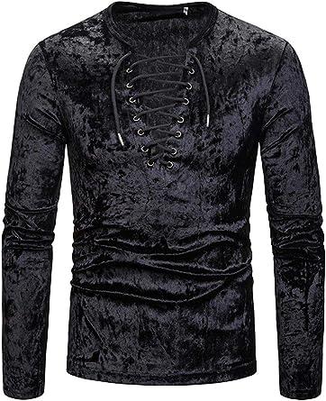 Camisa Negra De Los Hombres Correa Profunda con Cuello En V Camiseta De Manga Larga Trajes De Desgaste Diario Retro: Amazon.es: Ropa y accesorios