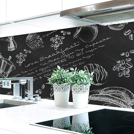 Küchenrückwand Tafelkreide Hart Pvc 0 4 Mm Selbstklebend Direkt Auf Die Fliesen Größe 220 X 51 Cm Küche Haushalt