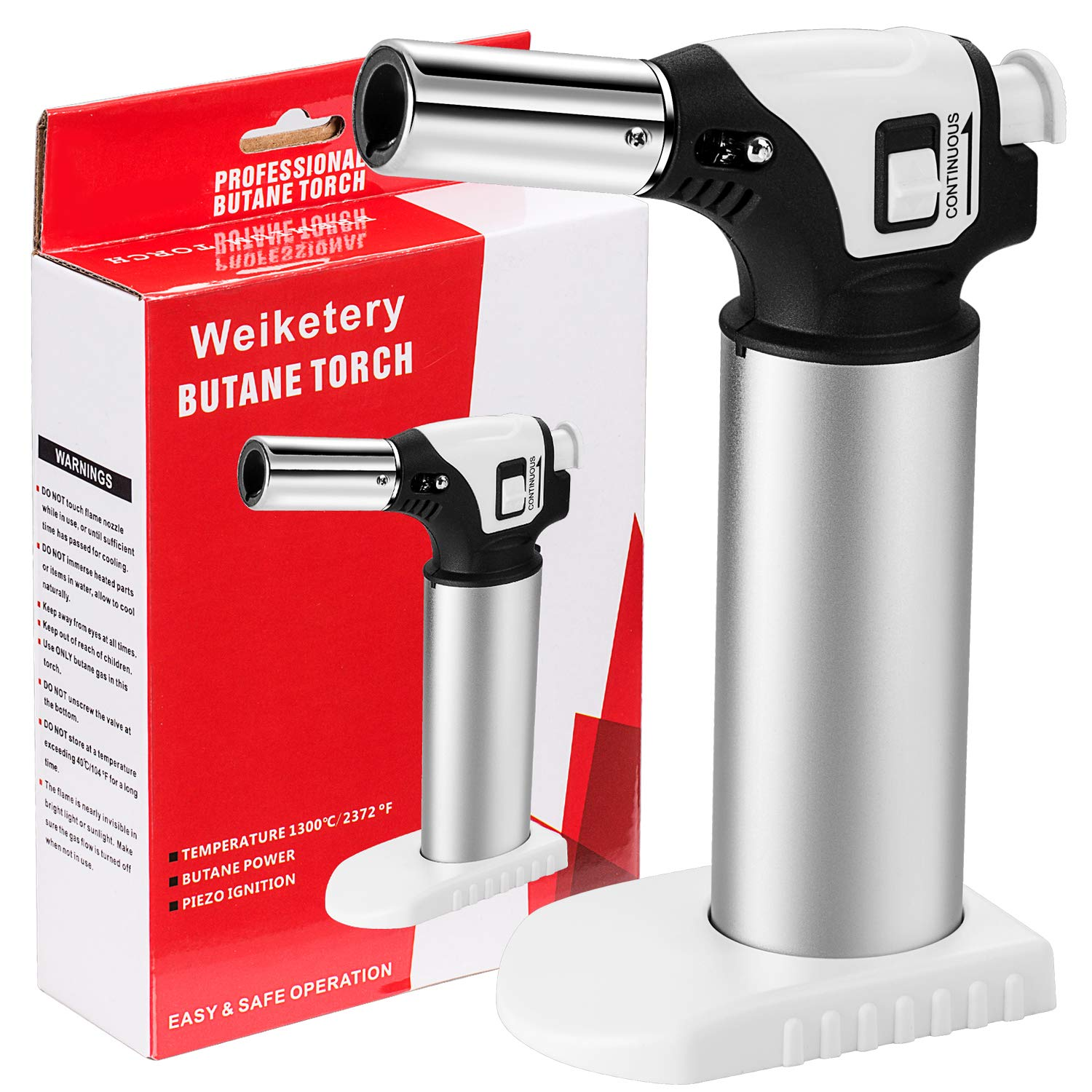 Blow Torch, Professional Kitchen Culinary Torch Lighter, Mini Chef Cooking Creme Brulee Torch, Butane Torch with Refillable Safety Lock & Adjustable Flame for Meat, Baking BBQ (Butane not included)