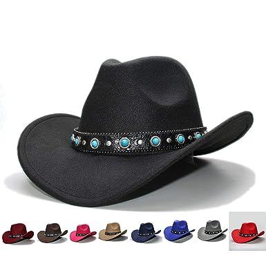 4e692e4c41c Amazon.com: Retro 100% Wool Wide Brim Western Bowler Hat Fedora Cap  Turquoise Bead Vintage Leather Band Women Men: Clothing