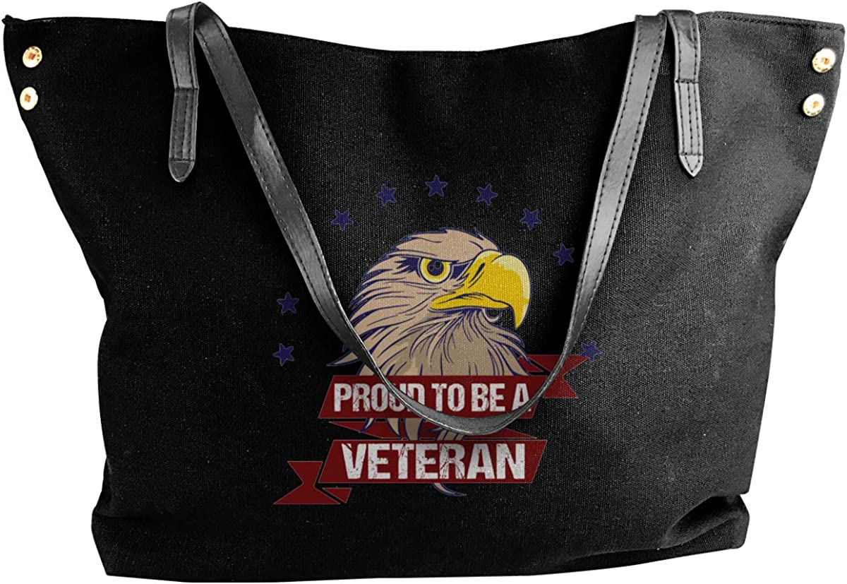 Proud To Be A Veteran Womens Tote Bags Canvas Shoulder Bag Casual Handbags