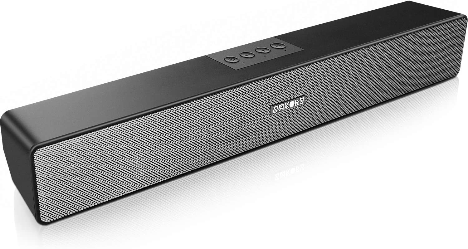 Computer Speakers, SAKOBS Bluetooth 5.0 Wireless PC Sound Bar, Stereo USB Powered 20W Computer Sound Bar for Desktop Laptop Smartphone Tablet, Aux Connection, 16Hrs Playtime