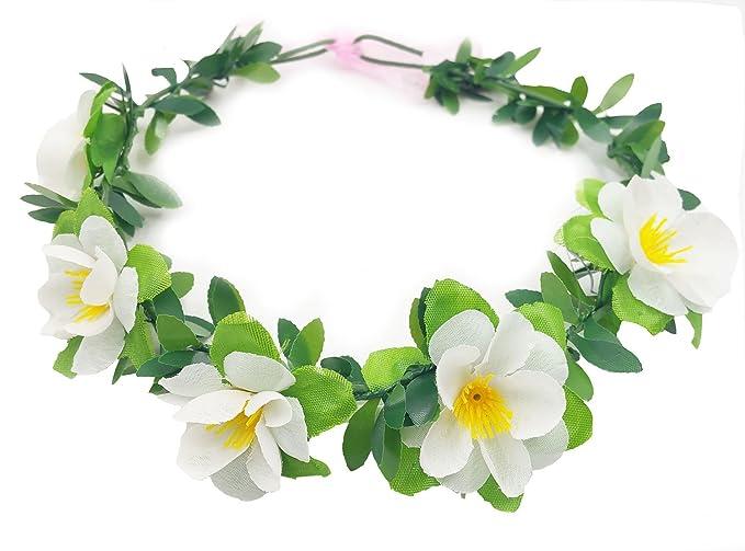 RoyaLily White Hawaiian Plumeria Flower Crown Boho Beach Wedding ...