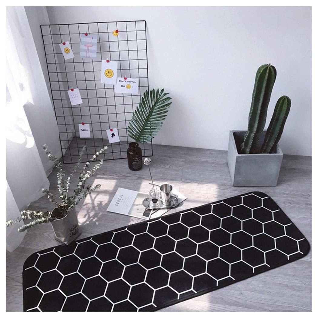 Kitchen Obstacle Pad Black Geometric Plaid Print Anti-Slip Mat Long Strip Bedroom Mat Bed Side 170cm (Color : Black, Size : 50150cm)