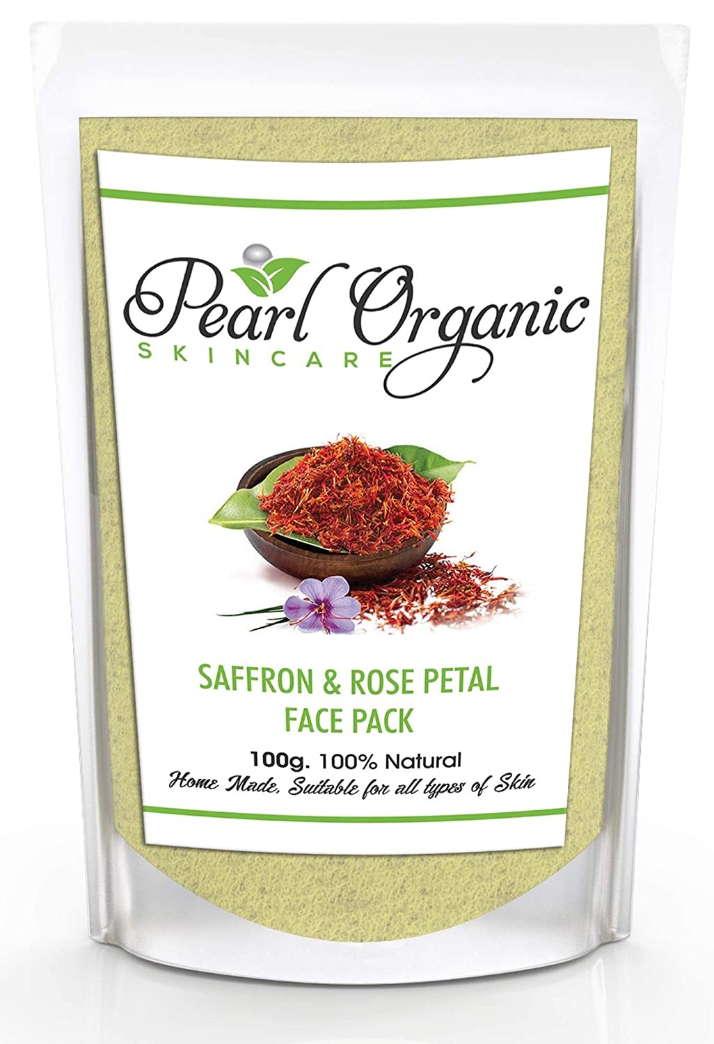 Pearl Organic Skincare Saffron Rose Petal Face Pack, Suitable for Oily, Dry  and All Skin Types (100 g)