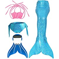 3STEAM Mädchen Meerjungfrauenschwanz Zum Schwimmen mit Meerjungfrau Flosse