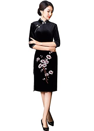 7efb2962e Amazon.com: Shanghai Story Flower Embroidery Velvet Half Sleeve Qipao Knee  Length Cheongsam: Clothing