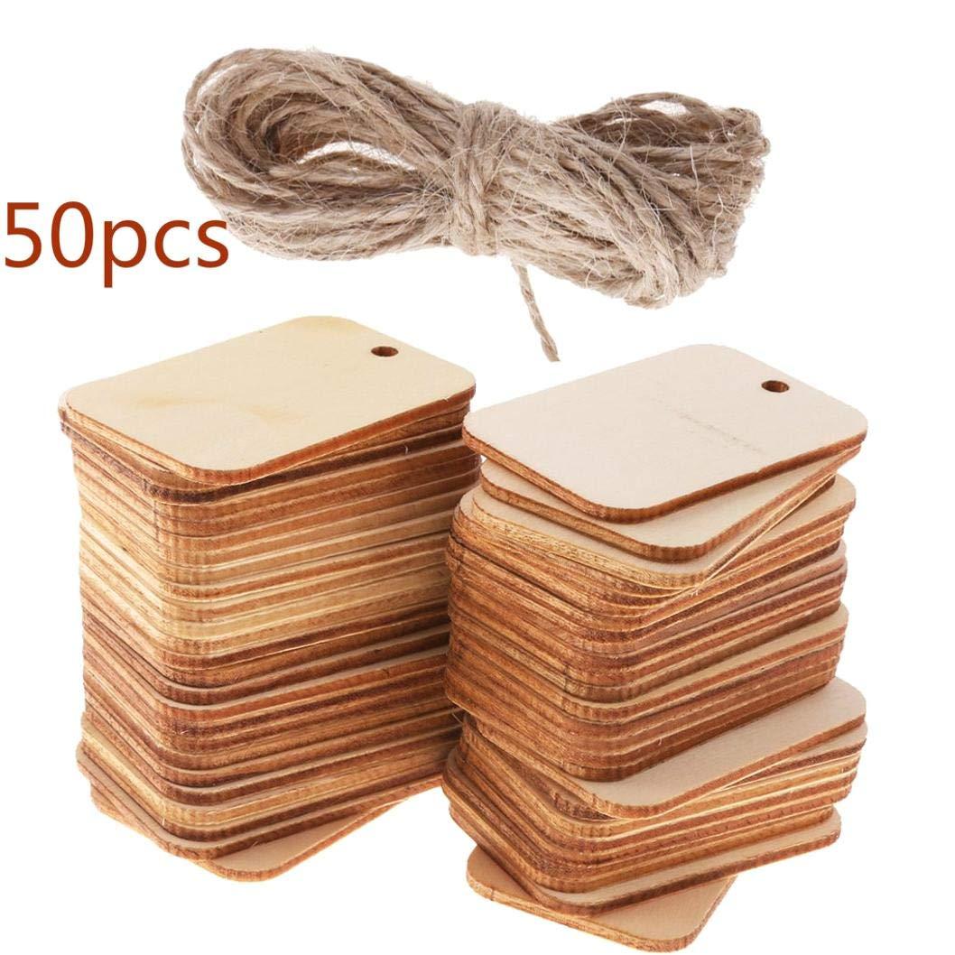 SALAKA 50 décorations en Bois d'embellissement d'étiquette de Forme de métier en Bois de Rectangle d'étiquettes avec la Corde
