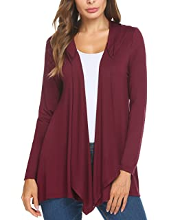 aa396bb1be Mofavor Womens Draped Open Front Long Sleeve Hooded Knit Sweater Cardigan  with Pockets