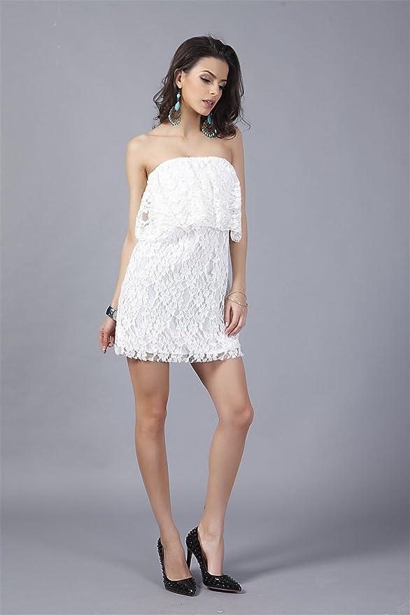 Sleeveless Strapless Ruffled Ruffle Hem Off The Shoulder Lace Tube Mini Bodycon Dress White at Amazon Womens Clothing store: