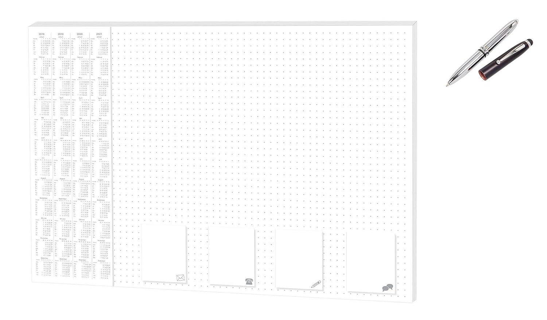 Paper-Media Sous-main de bureau en papier 60 x 42 cm 30 feuilles stylo /à bille LED